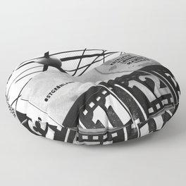 World Clock Berlin BW Floor Pillow