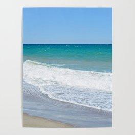 Sandy beach and Mediterranean sea Poster