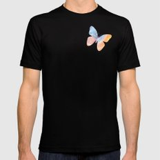 Pastel Butterfly Mens Fitted Tee Black MEDIUM