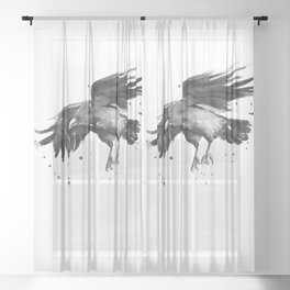 Raven Watercolor Sheer Curtain