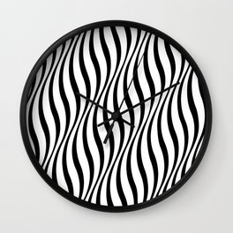Illusion Wavy Lines White and Black Wall Clock