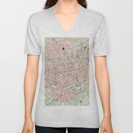 Greensboro North Carolina Map (1997) Unisex V-Neck
