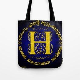 Joshua 24:15 - (Gold on Blue) Monogram H Tote Bag