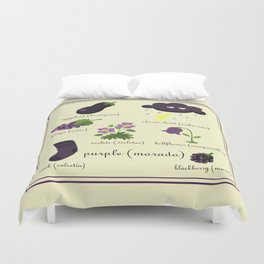 Colors: purple (Los colores: morado) Duvet Cover