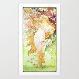 Alphonse Mucha Spring Floral Vintage Art Nouveau Art Print