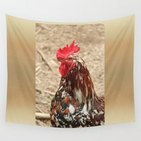 cock Wall Tapestries featuring cock-a-doodle-doo by MyLove4Art