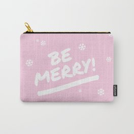 Pale Pink Be Merry Christmas Snowflakes Carry-All Pouch