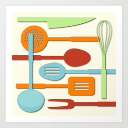 Kitchen Colored Utensil Silhouettes on Cream III Art Print