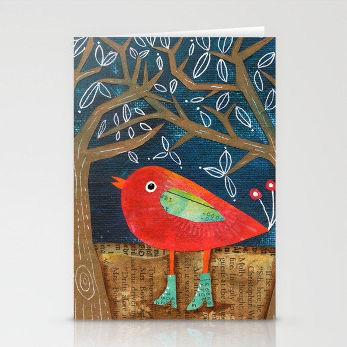 Red Bird in Galoshes Stationery Cards