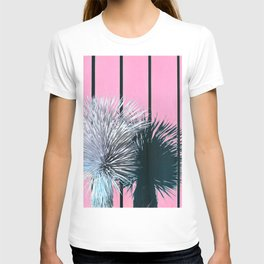 Yucca Plant in Front of Striped Pink Wall T-shirt