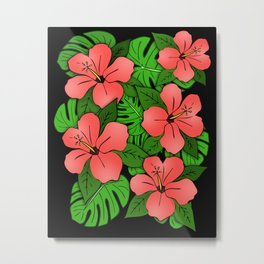 Hibiscus & Monstera Metal Print
