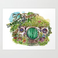 hobbit Art Prints featuring Hobbit hole by Kris-Tea Books