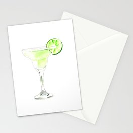 Cocktails. Watercolor Painting. Margarita Stationery Cards