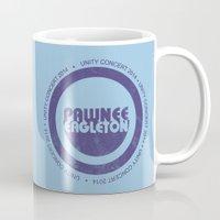 concert Mugs featuring pawnee/eagleton unity concert  by studiomarshallarts