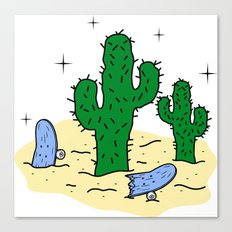 Cactus & Broken Skate Canvas Print