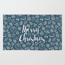 MERRY CHRISTMAS! - Blue Pattern Rug