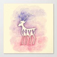 Reindeer Silhouette Watercolor Canvas Print