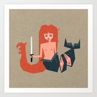 fighting the red dragon  Art Print
