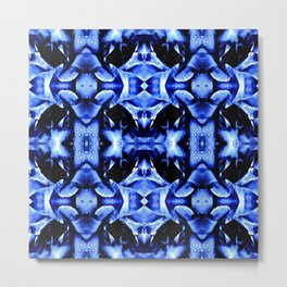 Blue Black  Fantasy Pattern Metal Print