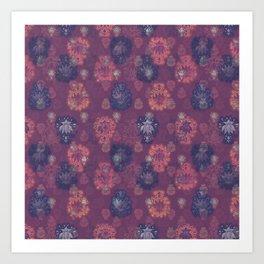 Lotus flower - mulberry woodblock print style pattern Art Print
