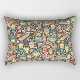 Tea party pattern on chocolate Rectangular Pillow