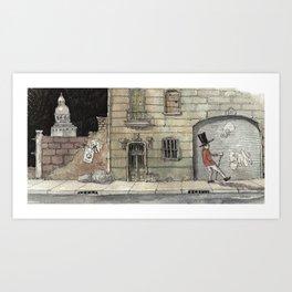 Night Stroll Through Paris Art Print