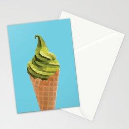Matcha Soft Serve Icecream Polygon Art Stationery Cards