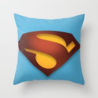 shield Throw Pillows featuring shield by hobbs