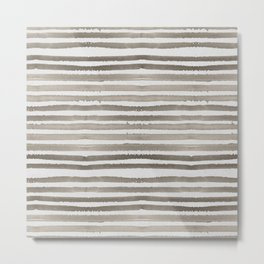 Simply Shibori Stripes Earth Brown on Lunar Gray Metal Print