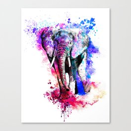 Colorful elephant drawing Canvas Print