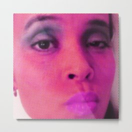 Magenta Face in Halftone No.1 Metal Print