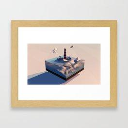 Sunset @ Lighthouse Framed Art Print