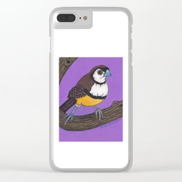 Owl Finch on Branch with Purple Sky, colored pencil, 2010 Clear iPhone Case