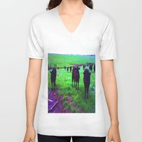 cows V-neck T-shirts featuring Cows by 13th Moon Social Club