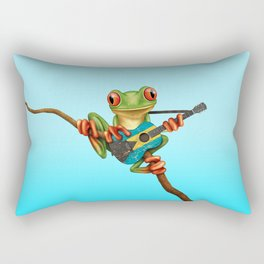 Tree Frog Playing Acoustic Guitar with Flag of Bahamas Rectangular Pillow