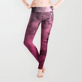 Liquid Space Nebula : Gray to Pink Ombre Gradient Leggings