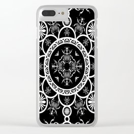 Scarab tile line pattern with black Background Clear iPhone Case