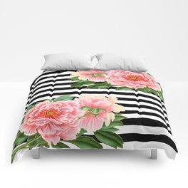 Pink Peonies Black Stripes Comforters