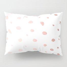 Rose Gold Pink Polka Dots on White Pillow Sham