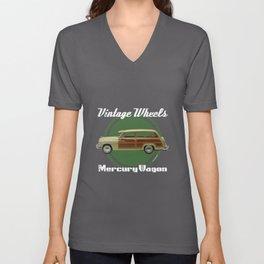 Vintage Wheels: Mercury Wagon Unisex V-Neck