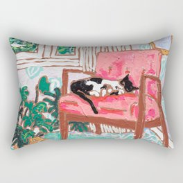 Little Naps - Tuxedo Cat Napping in a Pink Mid-Century Chair by the Window Rectangular Pillow