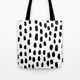 Spots black and white minimal dots pattern basic nursery home decor patterns Tote Bag