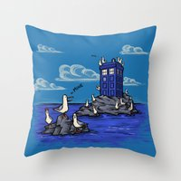 hallion Throw Pillows featuring The Seagulls have the Phonebox by Karen Hallion Illustrations