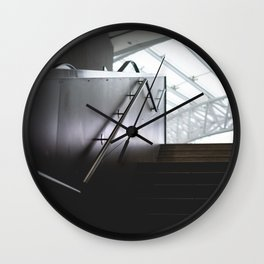 modern stairs dark background staircase gray bright light no people Wall Clock