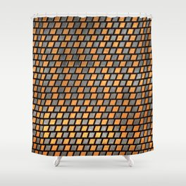 Irregular Chequers - Black Steel and Copper - Industrial Chess Board Pattern Shower Curtain