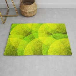 yellow and lime green modern grunge style circle geometrical pattern Rug