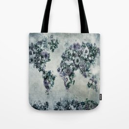 world map floral black and white Tote Bag