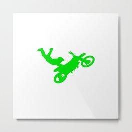 Motocross Stunt Jump Grab Silhouette Green Metal Print