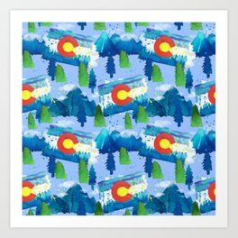 Watercolor Colorado mountains, trees and flag Light Blue Art Print