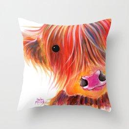 Scottish Highland Cow ' SWEET SATSUMA ' by Shirley MacArthur Throw Pillow